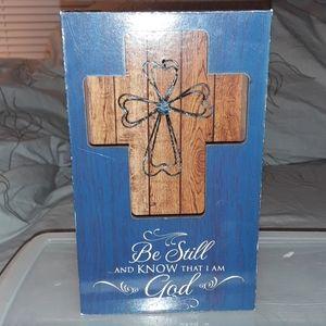 Biblical Blue shadow box Metal cross